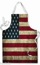 USA GRUNGE FLAG APRON KITCHEN BBQ COOKING PAINTING FATHERS DAY GREAT GIFT