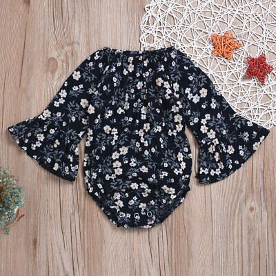 Pretty Infant Baby Girls Floral Long Sleeve Romper Jumpsuit One-Piece Clothes
