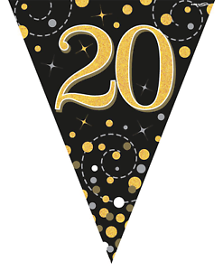 20th-Birthday-Party-Sparkling-Age-20-Black-amp-Gold-Flag-Bunting-Banner-Decoration