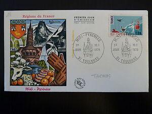 Contemplatif France Premier Jour Fdc Yvert 1866 Region Midi Pyrennees 2,20f Toulouse 1976