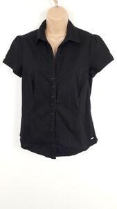 Femme-MNG-Basics-Noir-Chemise-a-manches-courtes-Casual-boutonne-taille-EUR-XL