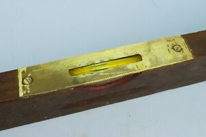 Vintage-30-034-Long-Spirit-Level-Wood-Brass-Retro-Building-Tool