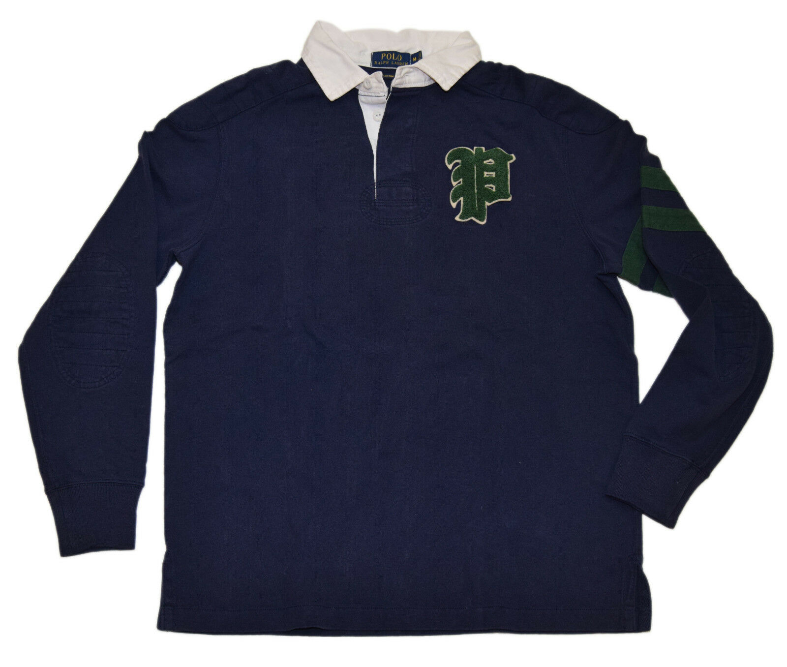 Polo Ralph Lauren Mens Quilted Rugby Letterman Sweatshirt Shirt Navy Green Small