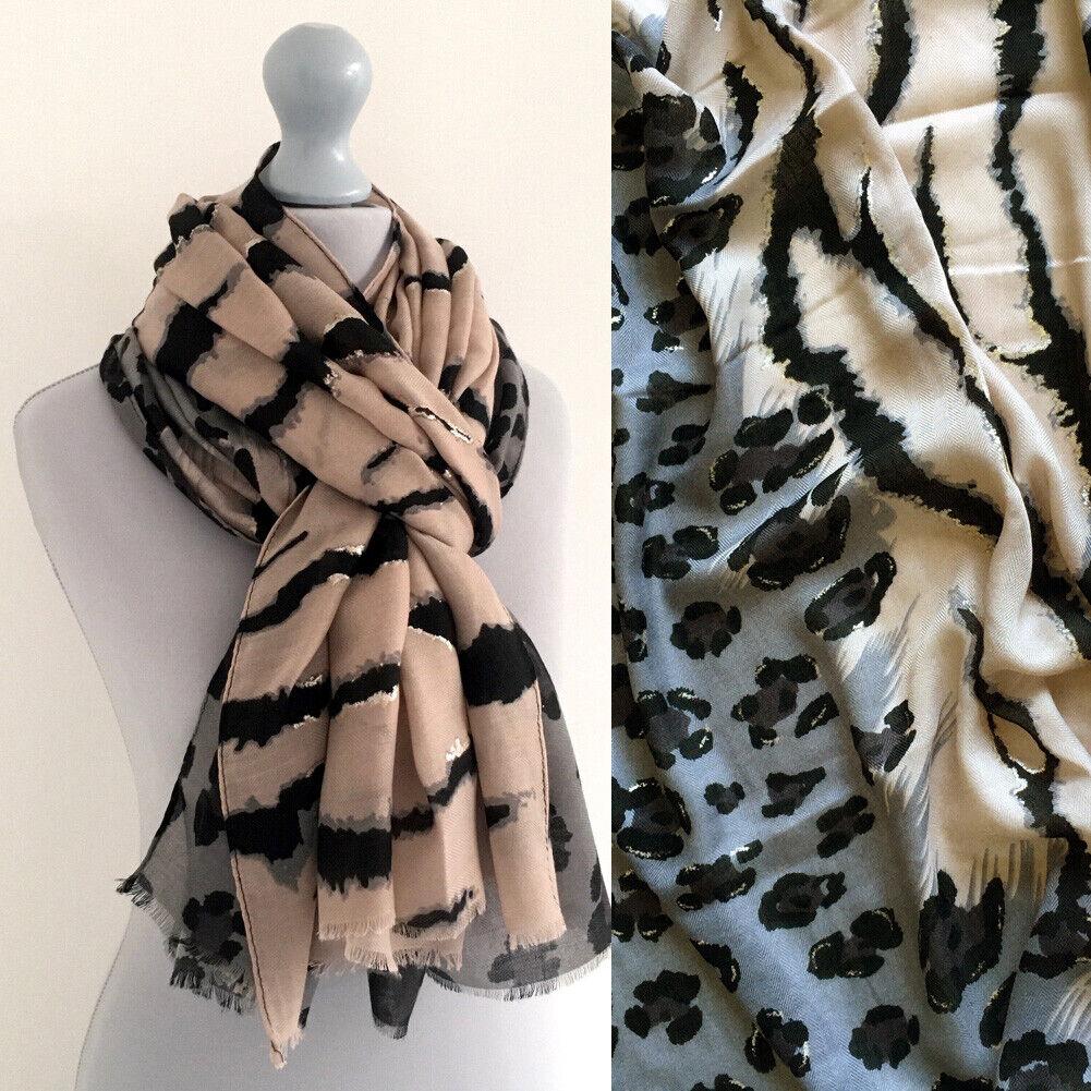 Large Leopard Print Scarf Light Blush Pink Grey Animal Zebra Big Long Shawl Wrap