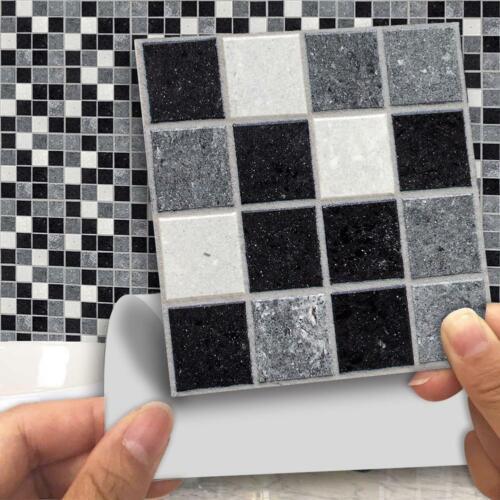 18Pcs Black Mosaic Self-adhesive Bathroom Kitchen Decor Wall Stair Tile Sticker