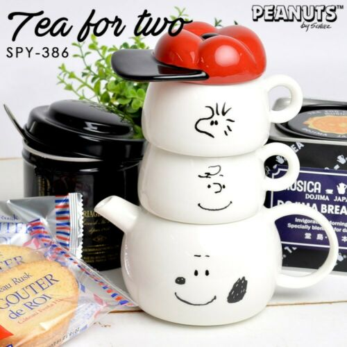 """Peanuts SNOOPY /"""" Tea for Two /"""" Set Charlie Brown Woodstock  Tea Pot /& Cups"""