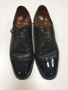 E542-para-hombre-Sanders-Negro-Cuero-acordonados-formal-Zapatos-UK-9-nos-10-EU-42