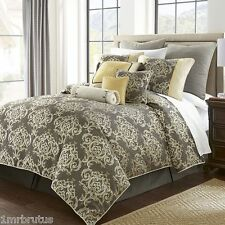 8-Pc Marquis by Waterford Anniston King Comforter Set Gray Yellow Gold Damask