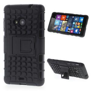 Nokia-Lumia-535-Trekking-Handy-Tasche-TPU-Rugged-Profil-Klappstaender-Huelle-Cover
