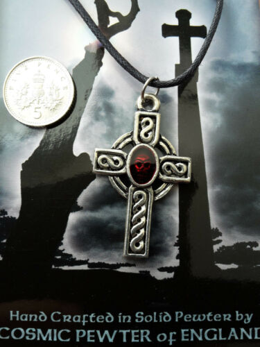 """Halloween Cross with Enamel Skull Pendant 30/"""" Boot Lace Clasp Cord Necklace"""