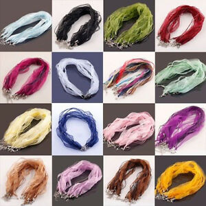 5-20-50Pcs-Organza-Voile-String-ribbon-Cord-Necklace-Lobster-Clasp-Chain-43cm