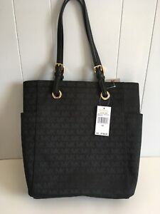 367187fb5a2c MICHAEL KORS MK LOGO Signature Jet Set BLACK MD Tote Shopper Bag ...