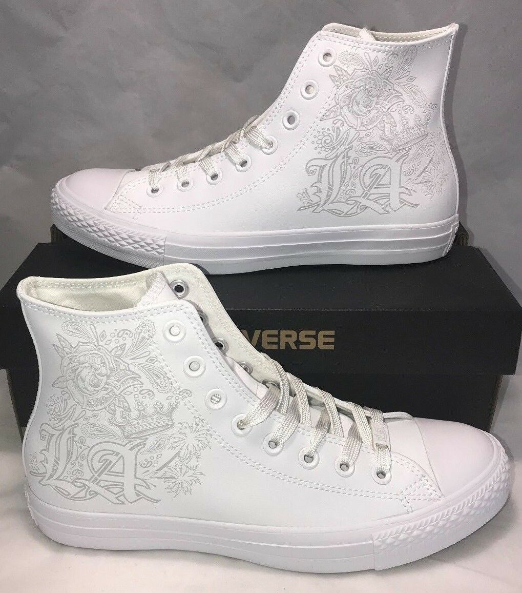 Converse Mens Size 7.5 Los Angeles Limited White Out CTAS Leather shoes New  100
