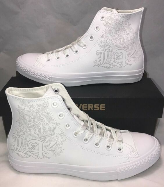 Converse Mens Size 8.5 Los Angeles Limited White Out CTAS Leather Shoes New $100