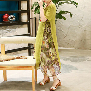 Mode-Femme-Col-Rond-Manche-Courte-maternite-robe-en-vrac-lin-long-robe