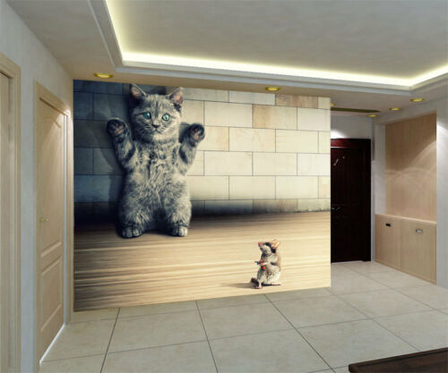 Funny Kitten Cat Mouse Humour 3D Full Wall Mural Photo Wallpaper Home Decal Kids