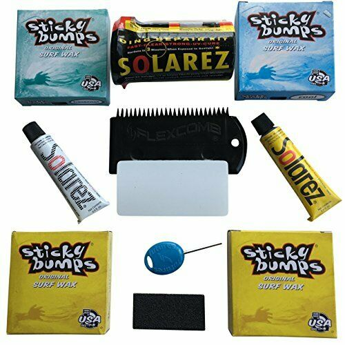 Surfing Board Wax & Ding Repair Kit w  Epoxy Resin   Scrapping Comb & Fin Key