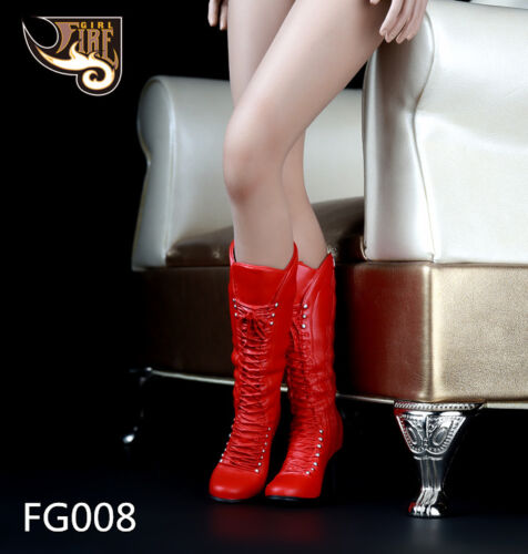 """Fire Girl Toys 1//6 Scale High Boots Female High Heels Red For 12/"""" Female Feet"""