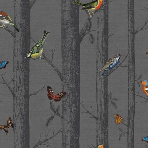 HOLDEN 12230 BUTTERFLIES NEW DARK GREY EPPING BIRDS ON BRANCHES WALLPAPER
