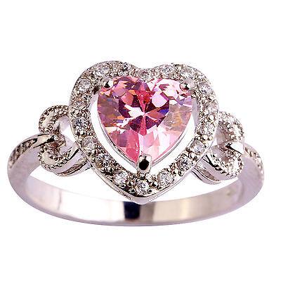 Gift Pink & White Topaz Gemstone Women Fashion AAA Silver Ring Size 6 7 8 9 10