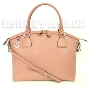 Image Is Loading Gucci Dusty Pink Leather Large Dome Gold Gg