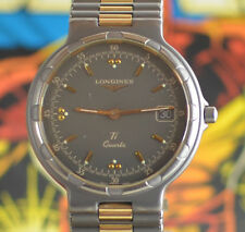 Vintage Mens Longines Conquest Ti Quartz Titanium Watch New Battery Orig. Band