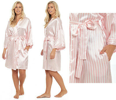 Besorgt Satin Kimono Candy Stripe Robe Wedding Bridal Party Ladies Pink Summer Nightwear