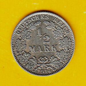 Germany Empire 1/2 Mark 1914 J  Silver