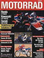 Motorrad 4 86 1986 Honda CB450S VF1000R Kawasaki 1000 GTR Yamaha XT500 RG80