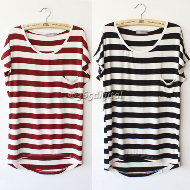 Korea Women Summer Stripe Pocket Short Sleeve Casual Loose T-shirt Tops   35DI