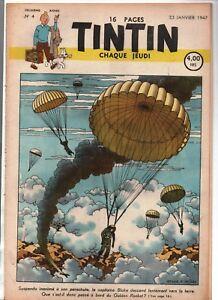TINTIN n°4 du 23 janvier 1947 - édition belge - Superbe couverture E.P. JACOBS