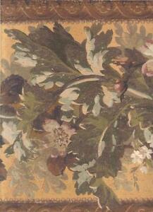 Wallpaper-Border-LARGE-Arts-and-Crafts-Architectural-Floral-Leaf-Garland-Orange