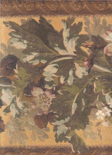 Wallpaper Border LARGE Arts and Crafts Architectural Floral Leaf Garland Orange