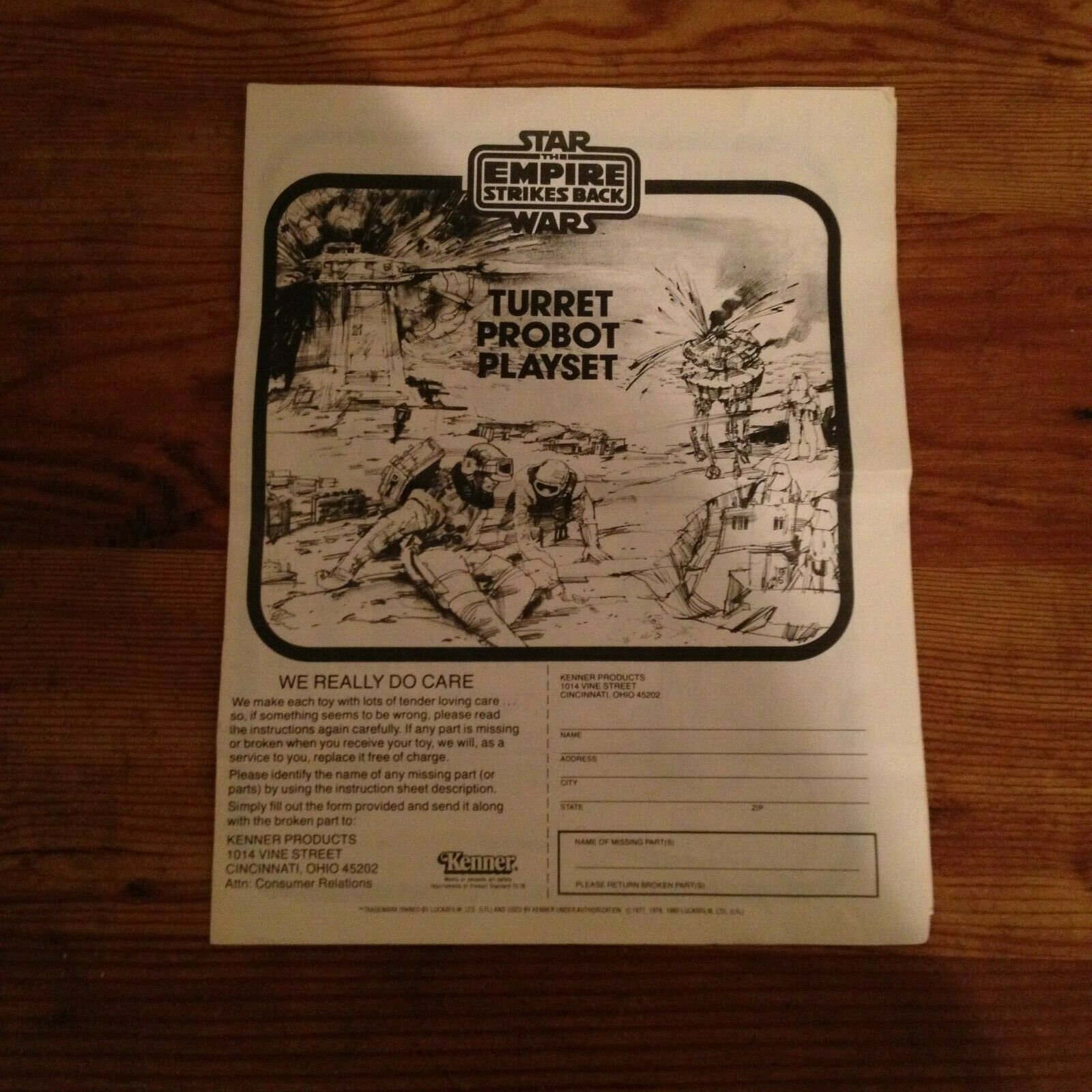 Star Wars Vintage Kenner Probot and Turret Hoth Base Instructions Only