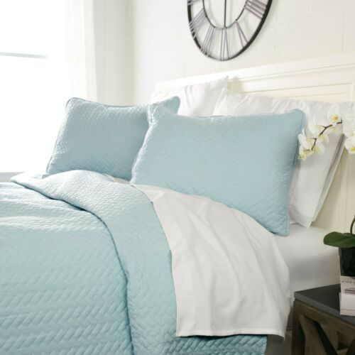 Luxury Ultra Soft Herring Quilted 3 Piece Coverlet Set Sharon Osbourne Home