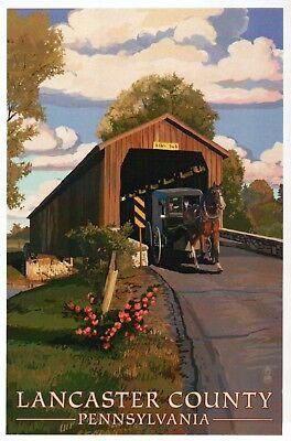 Modern Postcard Covered Bridge /& Horse Carriage Lancaster County Pennsylvania