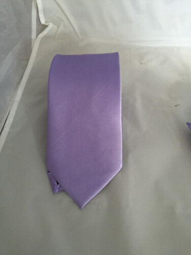 """Set OR Hanky Only Lavender-Lilac Polyester Tie/>Classic 3.3/""""-Slim 3/""""-Skinny 2.5/"""""""