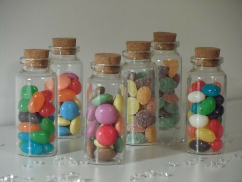 Small Clear Glass Cork Lid Bottles Jars Party Sweets Wedding Table Favours 3x7cm