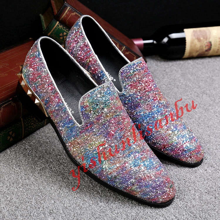 Cool Men Rivet Sequin Pull On Formal Dress shoes Fashion Spikes Leisure shoes Sz