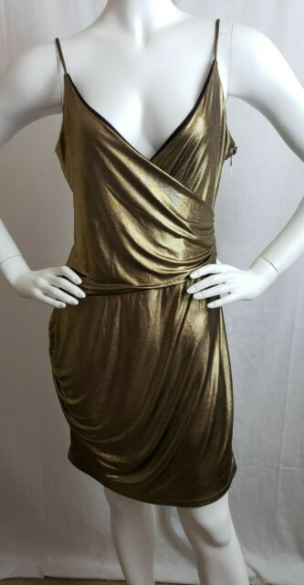 Guess Los Angeles Womens Dress Gold Mini Sleeveless Size Large New