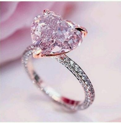 Certified 3.05Ct Fancy Pink Heart Cut Diamond Engagement Ring In 14K White Gold