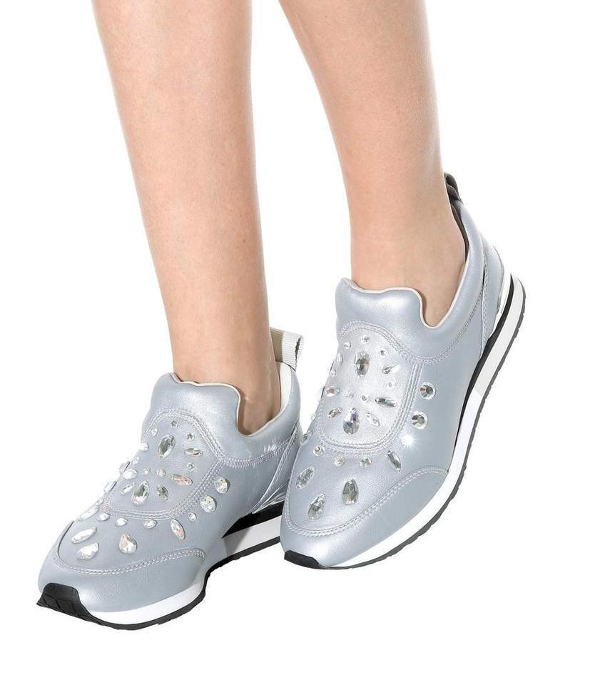 Tory Burch Laney Embellecido Sin Cordones Zapatillas Zapato Plano Zapato De Cuero De Plata 6.5