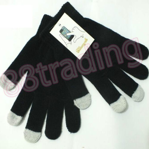 Black Winter Man Woman Knit Gloves Allow Touch Screen Text Capacitive Smartphone