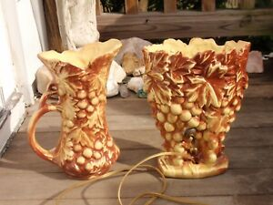 2-PIECES-OF-VINTAGE-MCCOY-POTTERY-LAMP-LIGHT-AND-PITCHER-GRAPE-LEAVES-9-5-INCHES