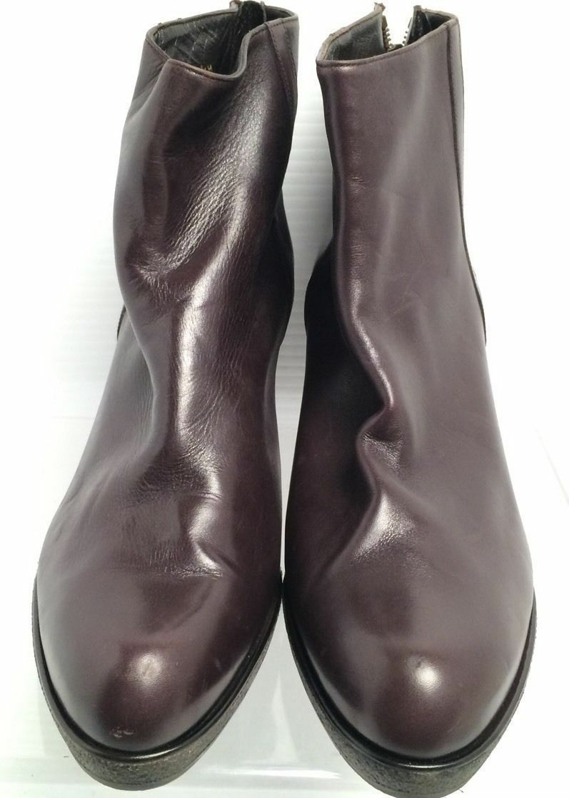 Stuart Weitzman BROWN Leather Chunky Low Heel Ankle Ankle Ankle Booties Boot SZ 9.5M 9d3c2d