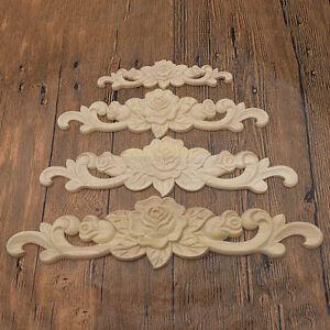 Elegant wood flower carved corner onlay applique diy for Applique furniture decoration