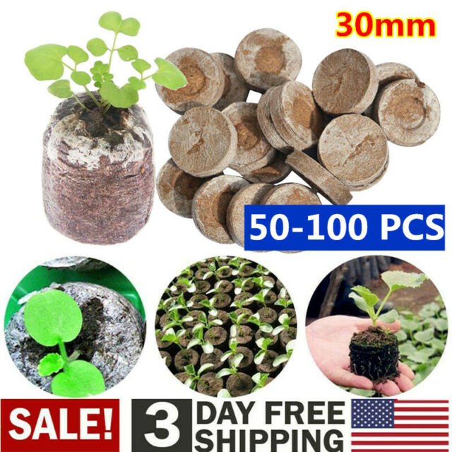 30mm Jiffy Peat Pellets Seed Starter Plug Pallet Seedling Soil Nursery Block Pot