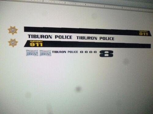Tiburon California Police Patrol  Vehicle Decals 1:24