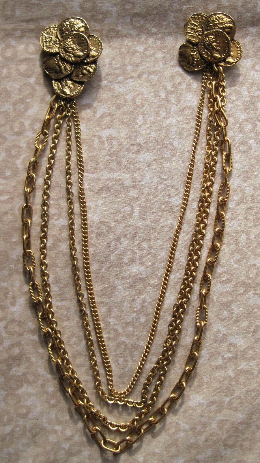 Vintage Chatelaine 2 goldtone Coin Brooches connected by 4 goldtone Chains