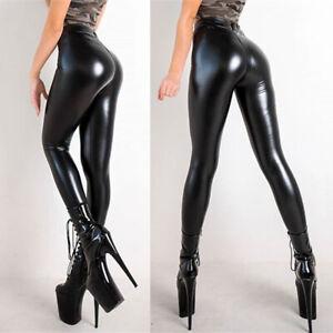 Womens Faux Leather Wet Look Pants Ladies High Waist Skinny Leggings Trousers